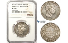 ZM123, Germany, Prussia, Fr. Wilhelm IV, 1 Gulden 1852-A, Berlin, Silver, NGC MS62+