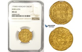 ZM129, Hungary, Francis II Rákóczi, Rebellion of the Malcontents, Ducat 1704 K-B, Kremnitz, Gold, NGC MS62, Pop 1/0, Finest!Very Rare!