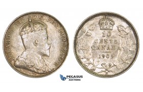 ZM144, Canada, Edward VII, 10 Cents 1902-H, Heaton, Silver, Lustros UNC