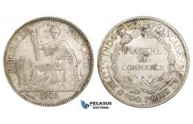 ZM153, French Indo-China, Piastre 1905-A, Paris, Silver, gVF