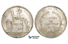 ZM155, French Indo-China, Piastre 1907-A, Paris, Silver, Lustrous AU+