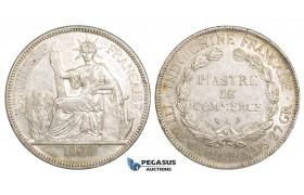 ZM157, French Indo-China, Piastre 1909-A, Paris, Silver, Lustrous AU