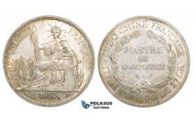 ZM158, French Indo-China, Piastre 1913-A, Paris, Silver, Lustrous AU