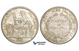 ZM159, French Indo-China, Piastre 1921, San Francisco, Silver, Lustrous AU