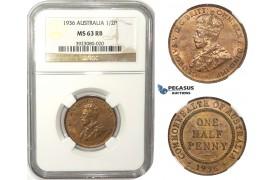 ZM16, Australia, George V, Half Penny 1936, NGC MS63RB