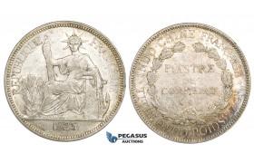 ZM161, French Indo-China, Piastre 1925-A, Paris, Silver, Lustrous AU