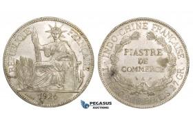 ZM162, French Indo-China, Piastre 1926-A, Paris, Silver, Lustrous AU, Edge nicks