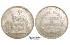 ZM163, French Indo-China, Piastre 1927-A, Paris, Silver, Lustrous AU