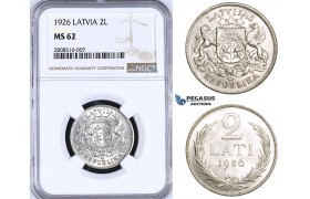 ZM201, Latvia, 2 Lati 1926, Silver, NGC MS62