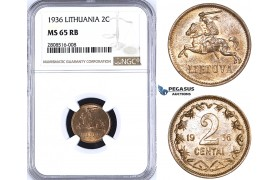 ZM202, Lithuania, 2 Centai 1936, NGC MS65RB Pop 1/9, Rare in this Quality!