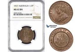 ZM210, Australia, George V, Half Penny 1927, NGC MS62BN