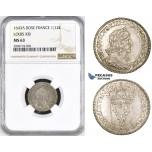 ZM214, France, Louis XIII, 1/12 Ecu 1643-A (Rose) Paris, Silver, NGC MS63