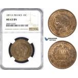 ZM218, France, Third Republic, 10 Centimes 1891-A, Paris, NGC MS63BN