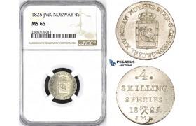 ZM225, Norway, Karl XIV Johan, 4 Skilling 1825 JMK, Kongsberg, Silver, NGC MS65, Pop 2/0
