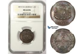 ZM24, British North Borneo, 1/2 Cent 1891-H, Heaton, NGC MS64BN