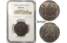 ZM25, British North Borneo, 1 Cent 1890-H, Heaton, NGC MS64BN