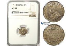 ZM29, Canada, George V, 5 Cents 1911, Silver, NGC MS64