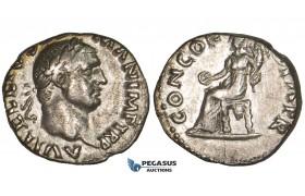 ZM302, Roman Empire, Vitellius (69 AD) AR Denarius (2.83g) Rome, 69 AD, Concordia, VF-EF, Rare!