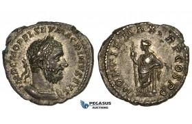 ZM305, Roman Empire, Macrinus (217-218) AR Denarius (3.39g) Rome, 217/8 AD, Securitas, aEF