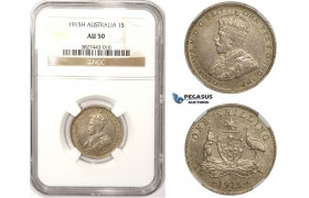 ZM309, Australia, George V, 1 Shilling 1915-H, Heaton, Silver, NGC AU50
