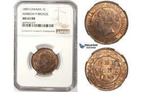 ZM312, Canada, Victoria, 1 Cent 1859, NGC MS63RB (Narrow 9)