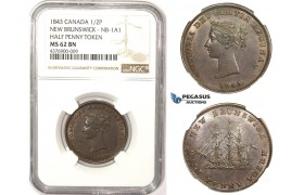 ZM314, Canada, New Brunswick, Half Penny Token 1843, NGC MS62BN