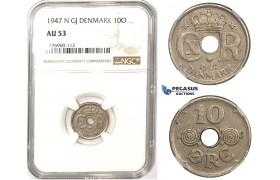 ZM323, Denmark, Christian X, 10 Øre 1947 N GJ, Copenhagen, NGC AU53, Rare!