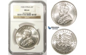 ZM33, Cyprus, George V, 45 Piastres 1928, London, Silver, NGC MS64