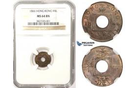 ZM339, Hong Kong, Victoria, Mil 1866, NGC MS64BN