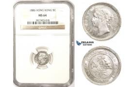 ZM341, Hong Kong, Victoria, 5 Cents 1886, Silver, NGC MS64