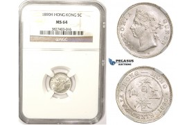 ZM342, Hong Kong, Victoria, 5 Cents 1890-H, Heaton, Silver, NGC MS64