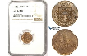ZM346, Latvia, 1 Santims 1926, NGC MS63BN