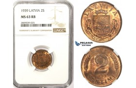 ZM347, Latvia, 2 Santimi 1939, NGC MS63RB