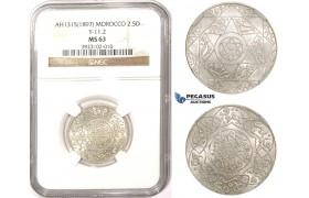 ZM352, Morocco, Abd Al Aziz, 2 1/2 Dirhams AH1315 (1897) Berlin, Silver, Y-11.2, NGC MS63