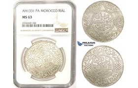 ZM353, Morocco, Yusuf I, Rial (10 Dirhams) AH1331 (1913) Paris, Silver, NGC MS63