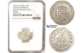 ZM354, N.E. Indies, Batavian Rep. 1/8 Gulden 1802, Silver, NGC MS64