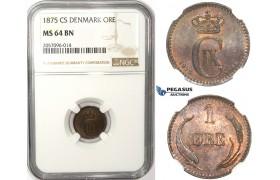 ZM36, Denmark, Christian IX, 1 Øre 1875 CS, Copenhagen, NGC MS64BN