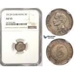 ZM360, Sarawak, C. Brooke Rajah, 5 Cents 1913-H, Heaton, Silver, NGC AU55