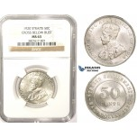 ZM371, Straits Settlements, George V, 50 Cents 1920, Silver, NGC MS63
