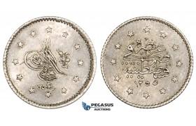 ZM377, Ottoman Empire (Turkey) Abdülmecid, 1 Kurush AH1255/19, Silver, Lustrous AU