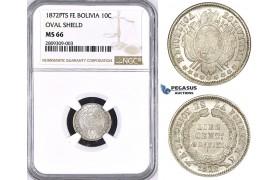 ZM380, Bolivia, 10 Centavos 1872 PTS FE, Potosi, Silver, NGC MS66, Pop 1/0