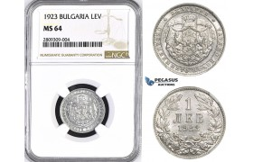 ZM381, Bulgaria, Boris III, 1 Lev 1923, Aluminum, NGC MS64