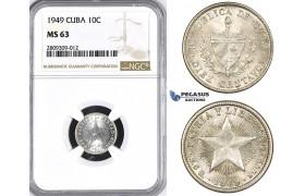 ZM388, Cuba, 10 Centavos 1949, Philadelphia, Silver, NGC MS63