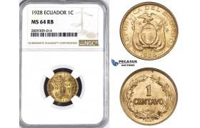 ZM390, Ecuador, 1 Centavo 1928, NGC MS64RB
