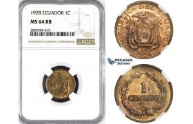 ZM391, Ecuador, 1 Centavo 1928, NGC MS64RB