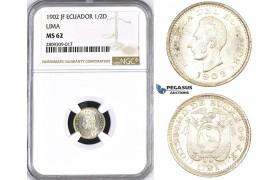 ZM393, Ecuador, 1/2 Decimo de Sucre 1902 JF, Lima, Silver, NGC MS62