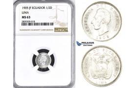 ZM394, Ecuador, 1/2 Decimo de Sucre 1905 JF, Lima, Silver, NGC MS63