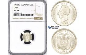 ZM395, Ecuador, 1/2 Decimo de Sucre 1912 FG, Lima, Silver, NGC MS64