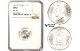 ZM396, Ecuador, 1/2 Decimo de Sucre 1915, Birmingham, Silver, NGC MS64