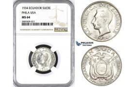 ZM397, Ecuador, Sucre 1934, Philadelphia, Silver, NGC MS64